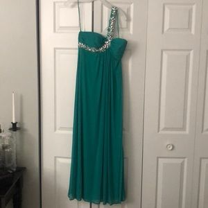 Turquoise Prom Dress .